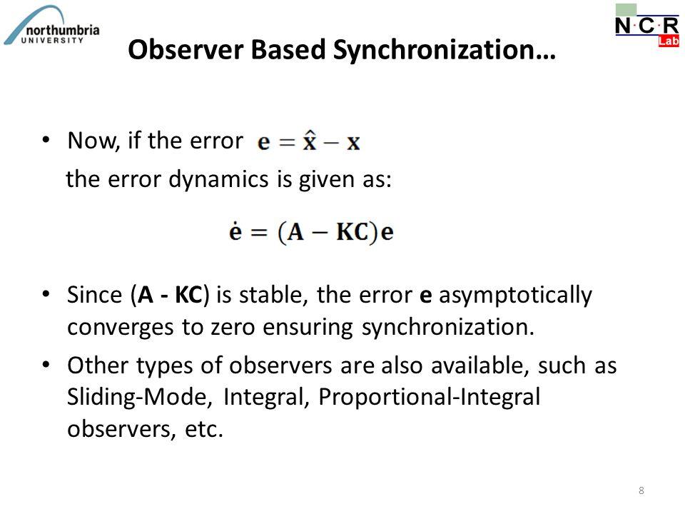Observer Based Synchronization…
