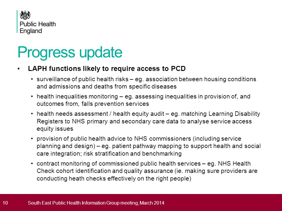Progress update LAPH functions likely to require access to PCD