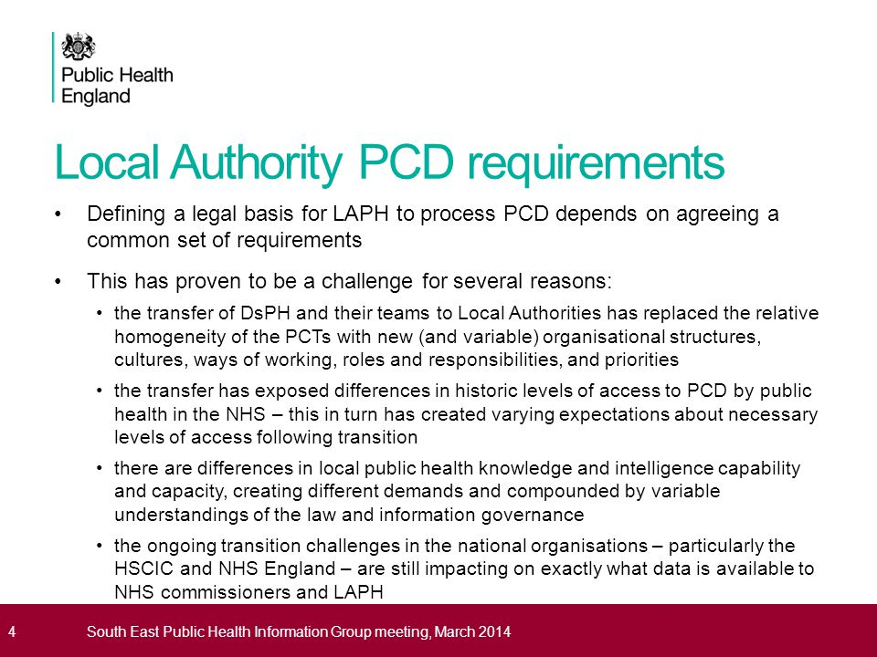 Local Authority PCD requirements