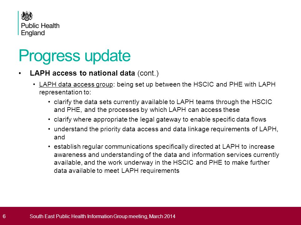 Progress update LAPH access to national data (cont.)
