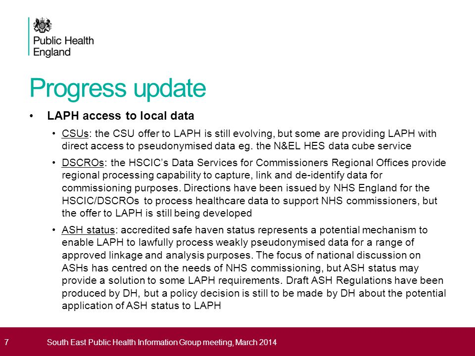 Progress update LAPH access to local data