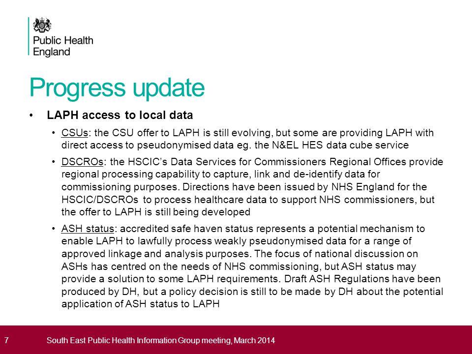 Progress update LAPH access to local data