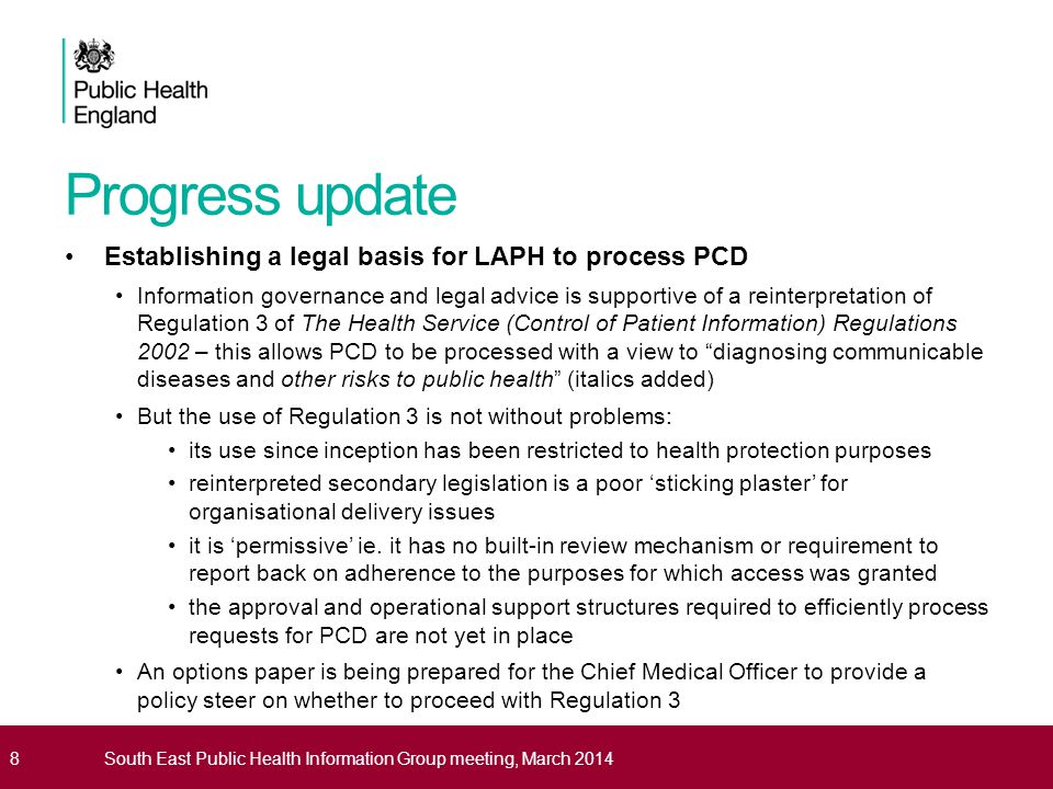 Progress update Establishing a legal basis for LAPH to process PCD