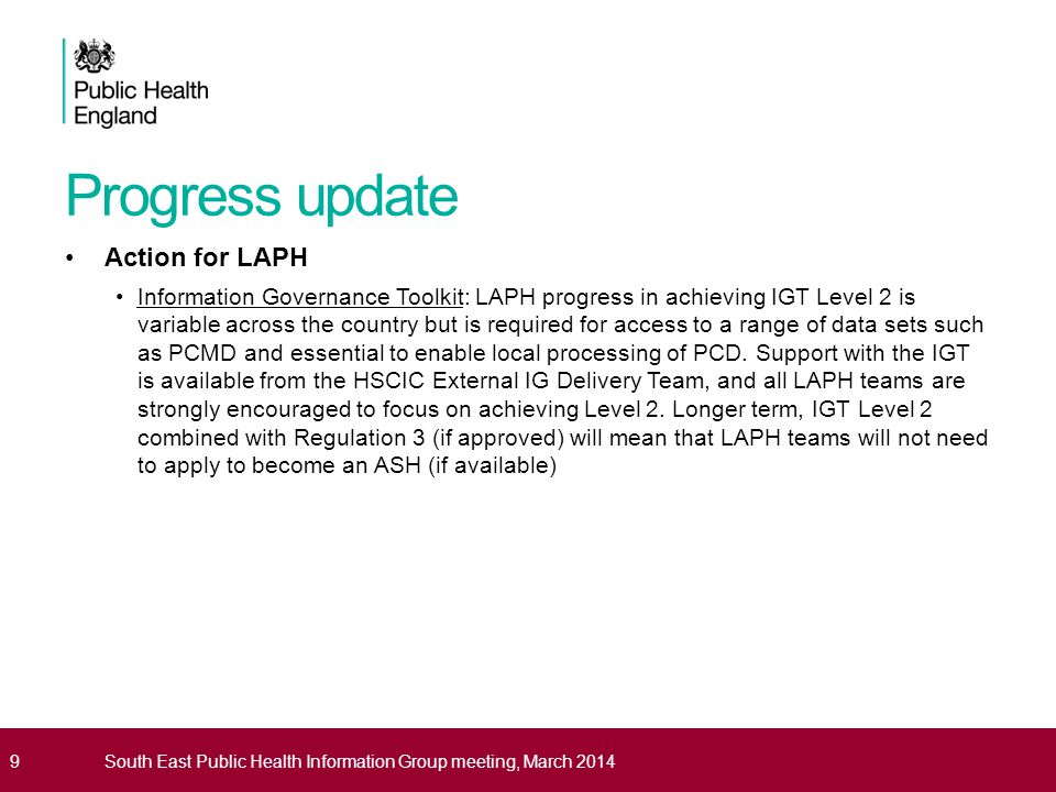 Progress update Action for LAPH