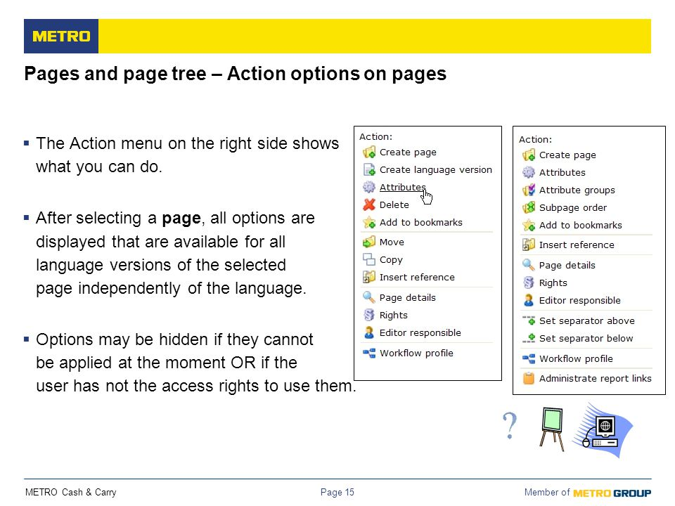 Pages and page tree – Action options on pages