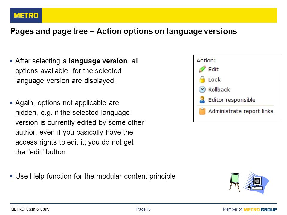 Pages and page tree – Action options on language versions