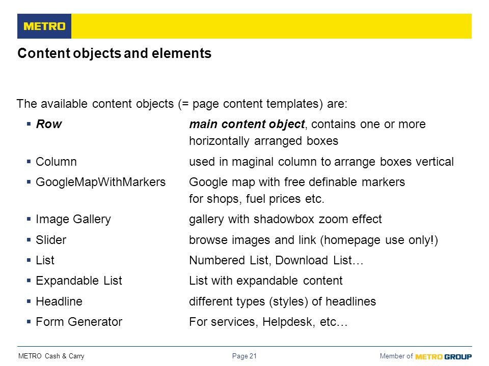 Content objects and elements
