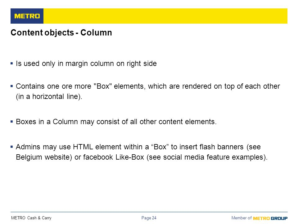 Content objects - Column