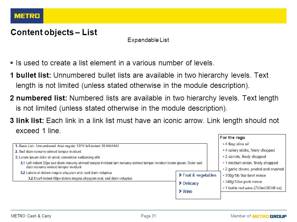 Content objects – List Expandable List. Is used to create a list element in a various number of levels.
