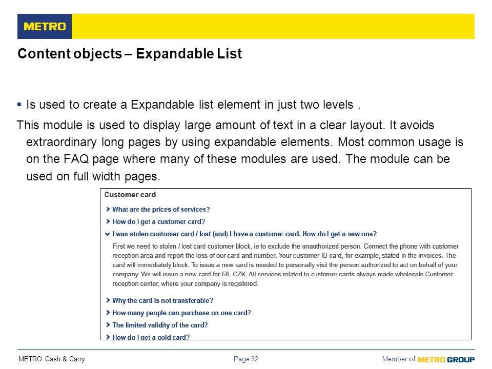 Content objects – Expandable List