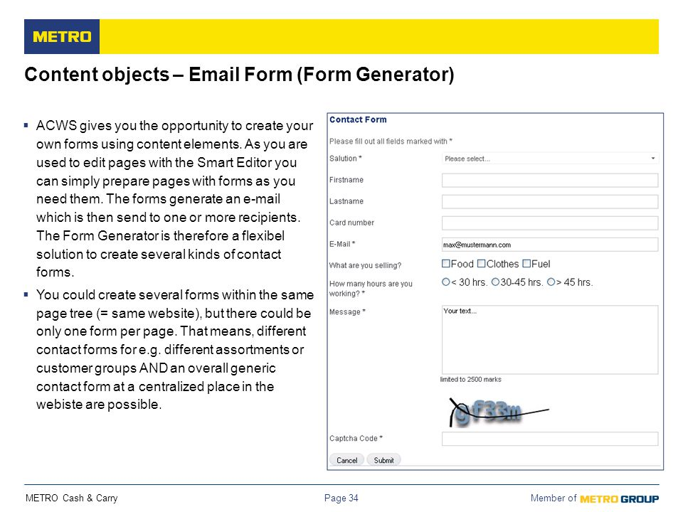Content objects – Email Form (Form Generator)