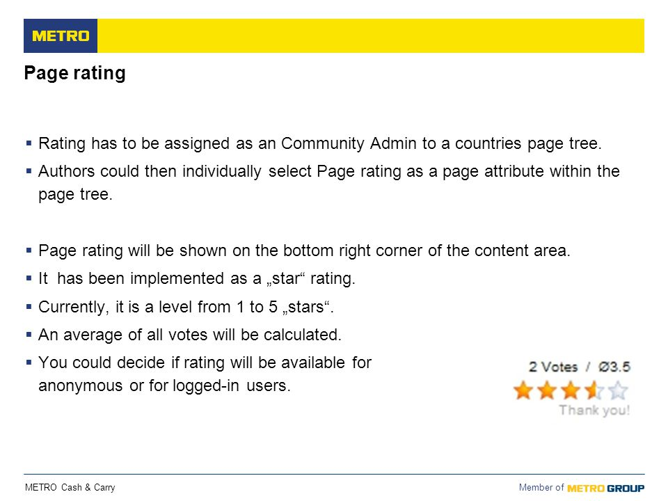 Page rating Rating has to be assigned as an Community Admin to a countries page tree.