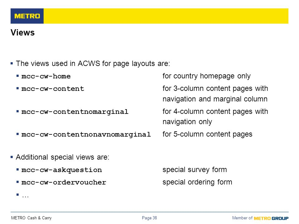 Views The views used in ACWS for page layouts are: