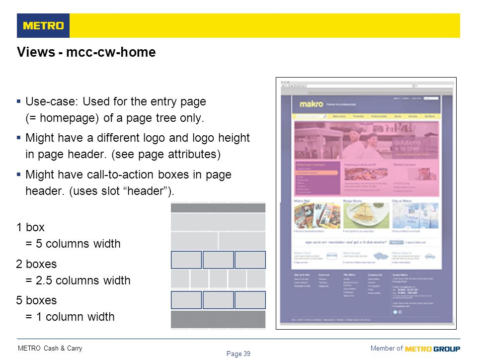 Views - mcc-cw-home Use-case: Used for the entry page (= homepage) of a page tree only.