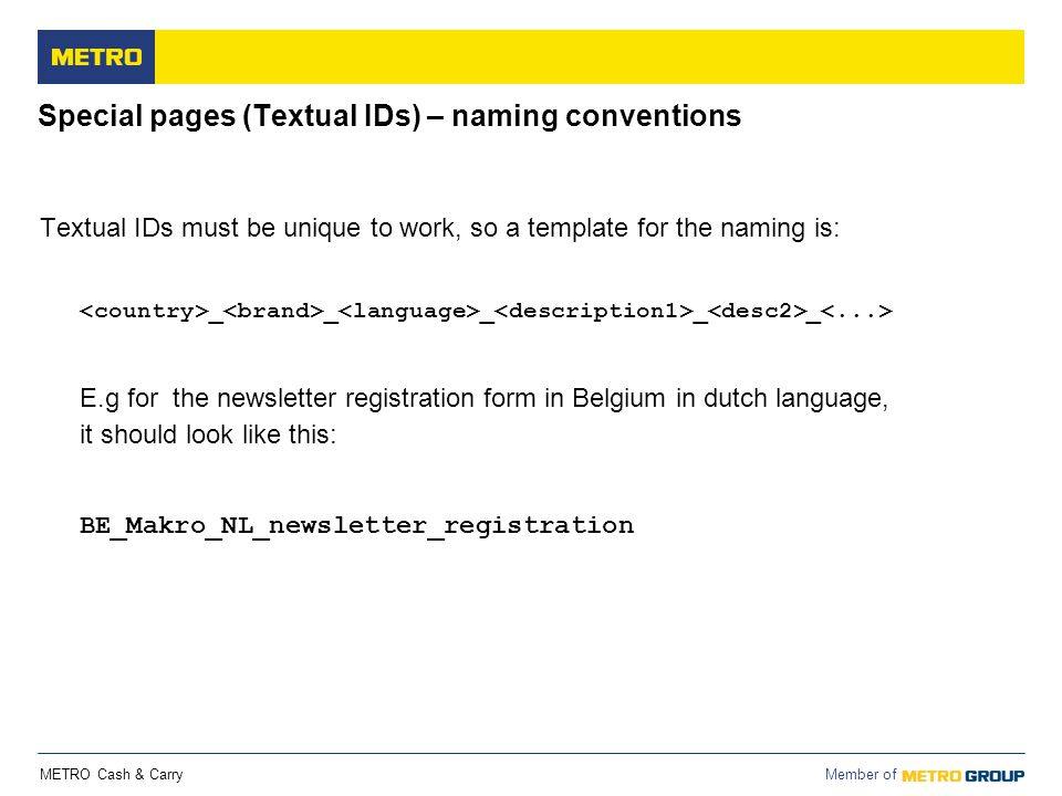 Special pages (Textual IDs) – naming conventions