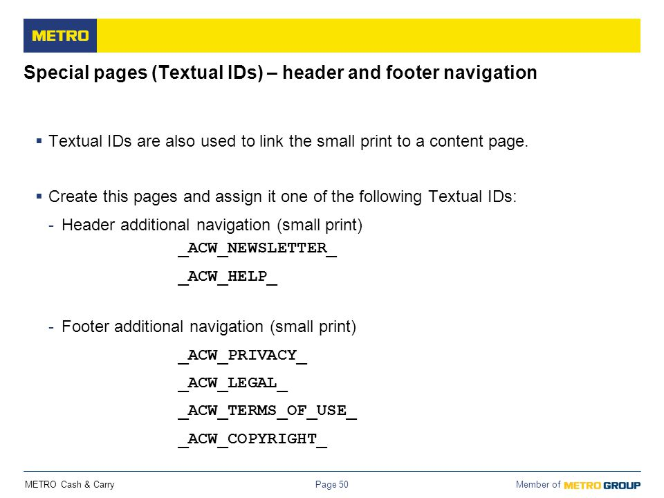Special pages (Textual IDs) – header and footer navigation