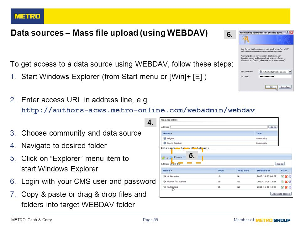 Data sources – Mass file upload (using WEBDAV)