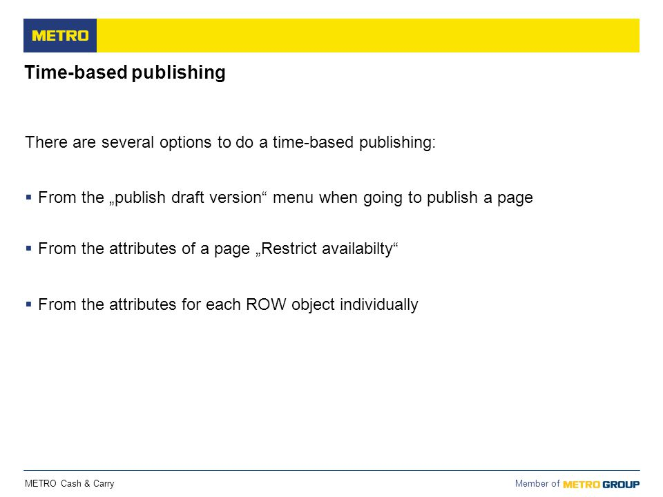 Time-based publishing