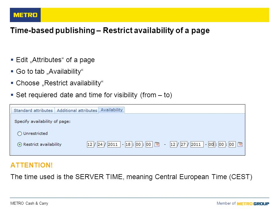 Time-based publishing – Restrict availability of a page