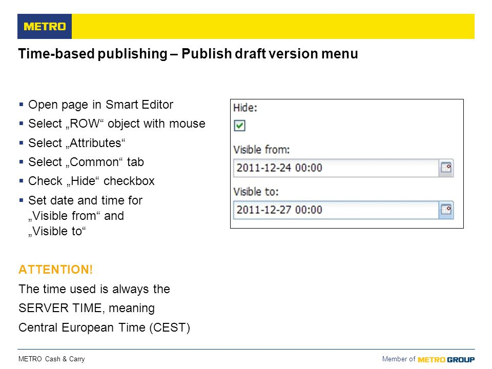 Time-based publishing – Publish draft version menu