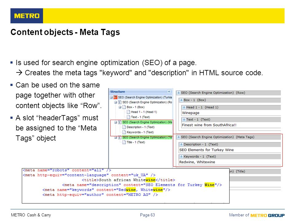 Content objects - Meta Tags