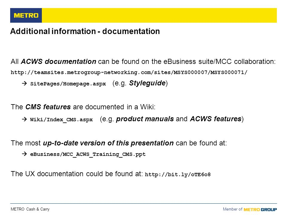 Additional information - documentation