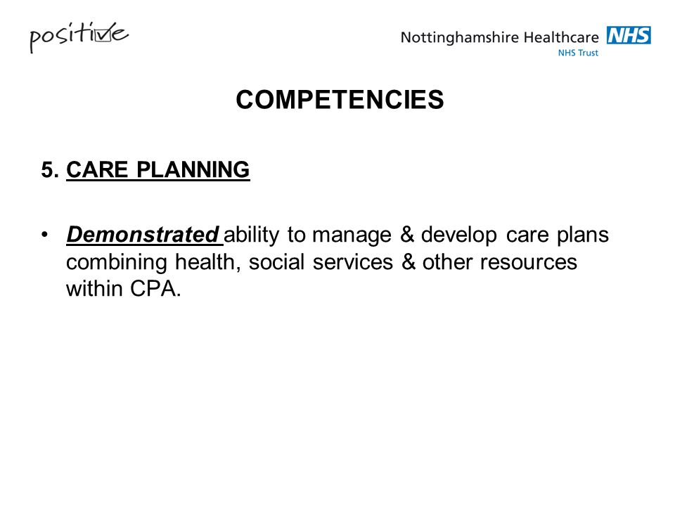 COMPETENCIES 5. CARE PLANNING