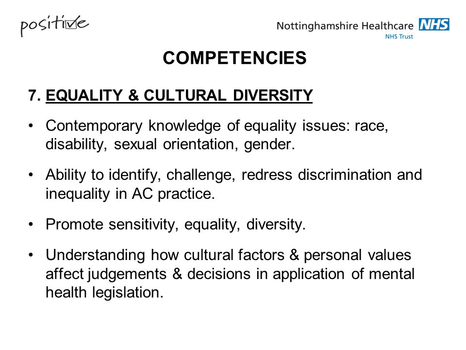 COMPETENCIES 7. EQUALITY & CULTURAL DIVERSITY