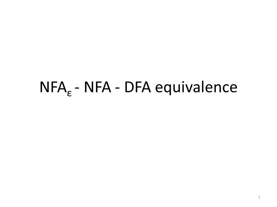 NFAε - NFA - DFA equivalence