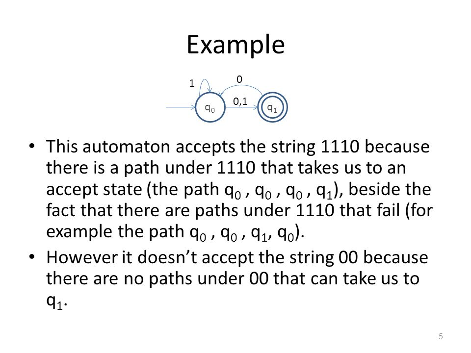 Example q0. q1. 1. 0,1.
