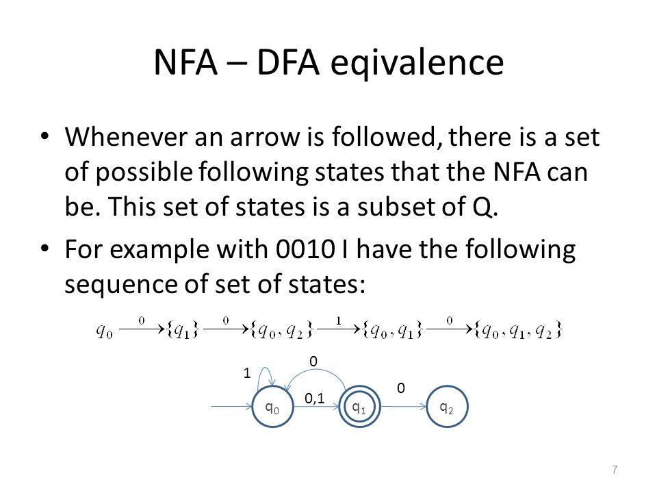 NFA – DFA eqivalence