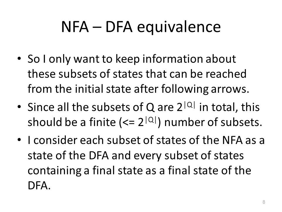 NFA – DFA equivalence