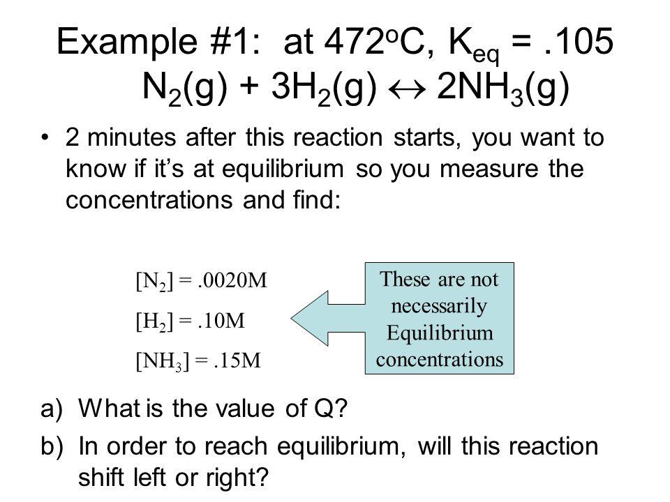 Example #1: at 472oC, Keq = .105 N2(g) + 3H2(g)  2NH3(g)