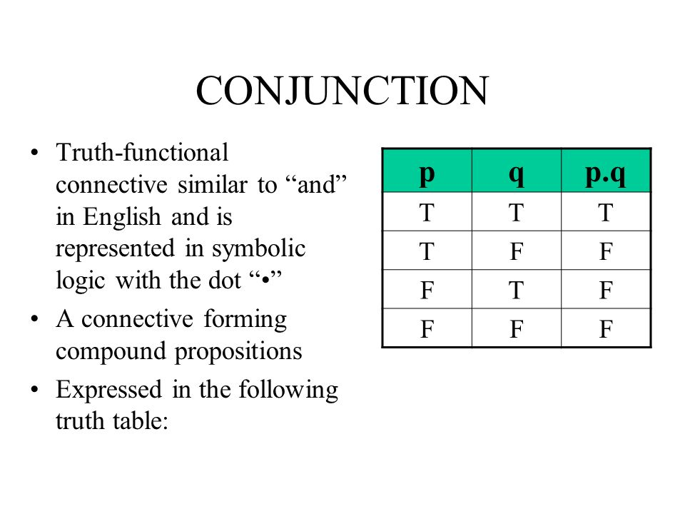 CONJUNCTION Truth-functional connective similar to and in English and is represented in symbolic logic with the dot •