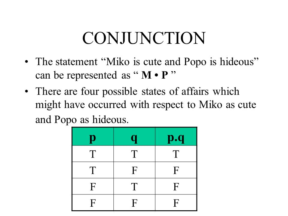 CONJUNCTION The statement Miko is cute and Popo is hideous can be represented as M • P