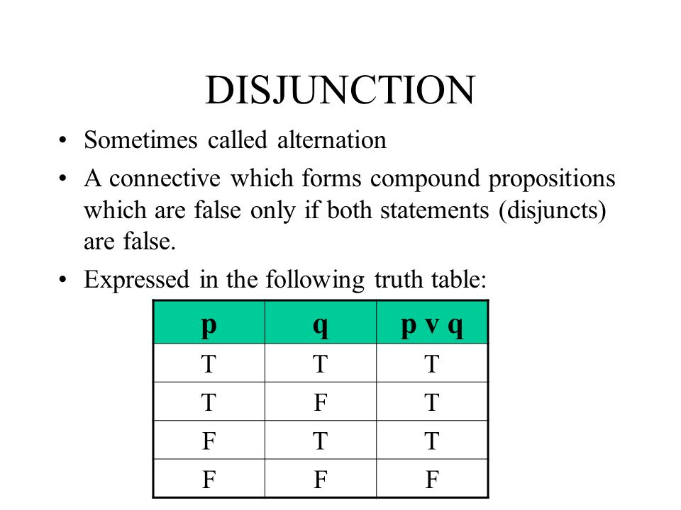 DISJUNCTION p q p v q Sometimes called alternation