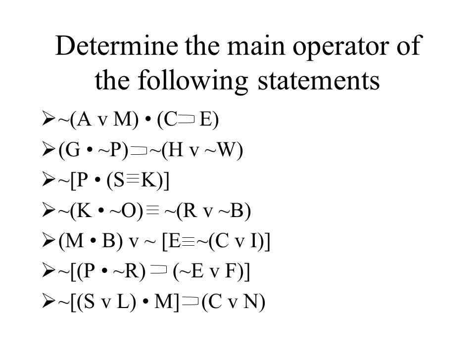 Determine the main operator of the following statements