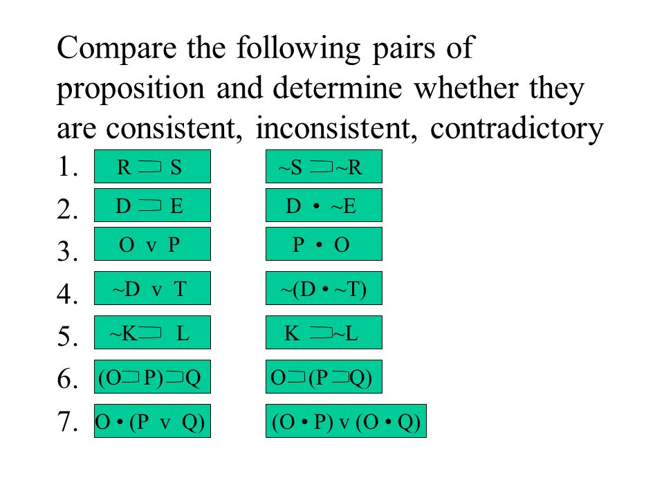 Compare the following pairs of proposition and determine whether they are consistent, inconsistent, contradictory