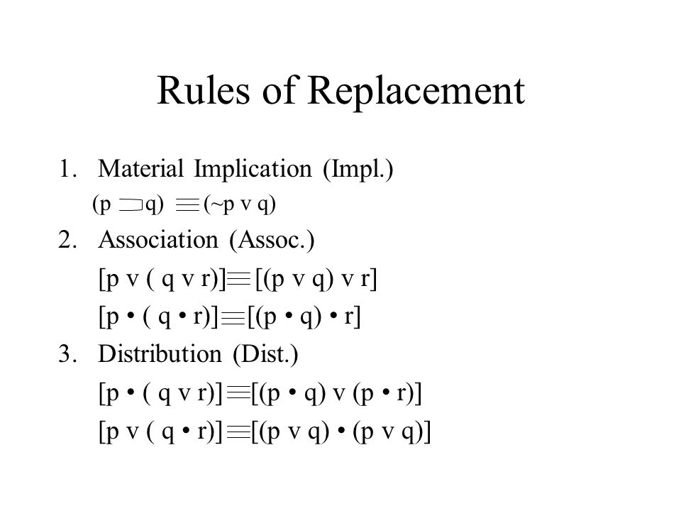 Rules of Replacement Material Implication (Impl.) Association (Assoc.)