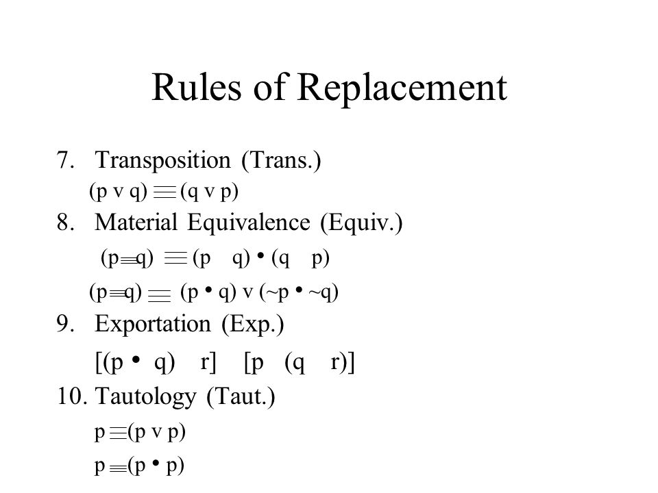 Rules of Replacement Transposition (Trans.)