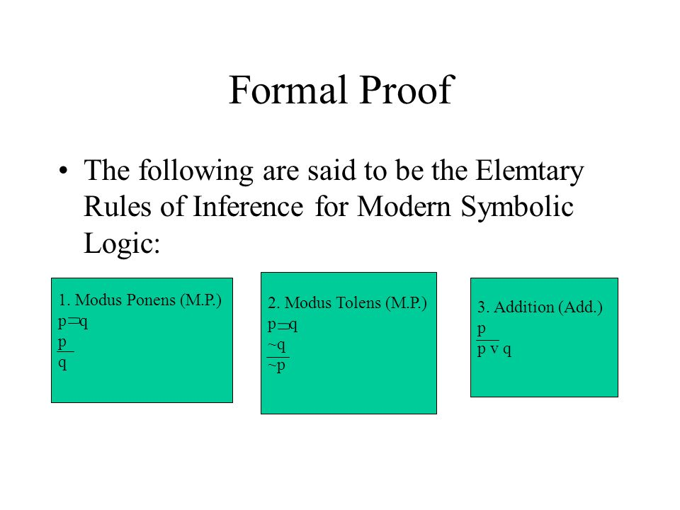Formal Proof The following are said to be the Elemtary Rules of Inference for Modern Symbolic Logic: