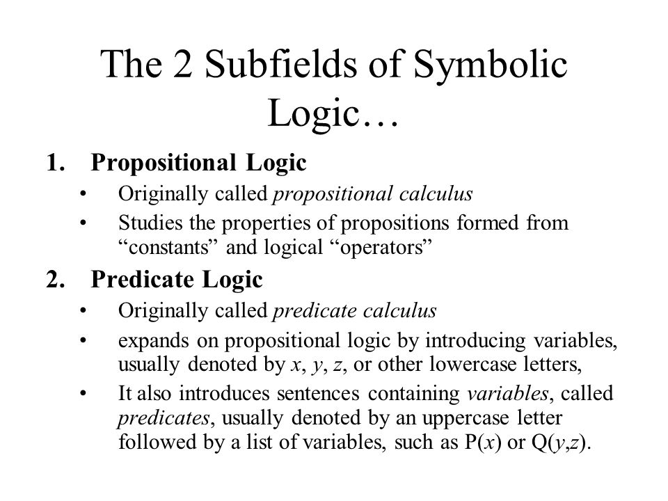 The 2 Subfields of Symbolic Logic…