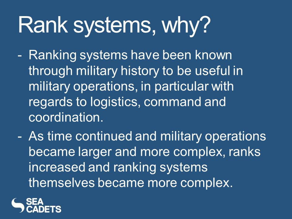 Rank systems, why