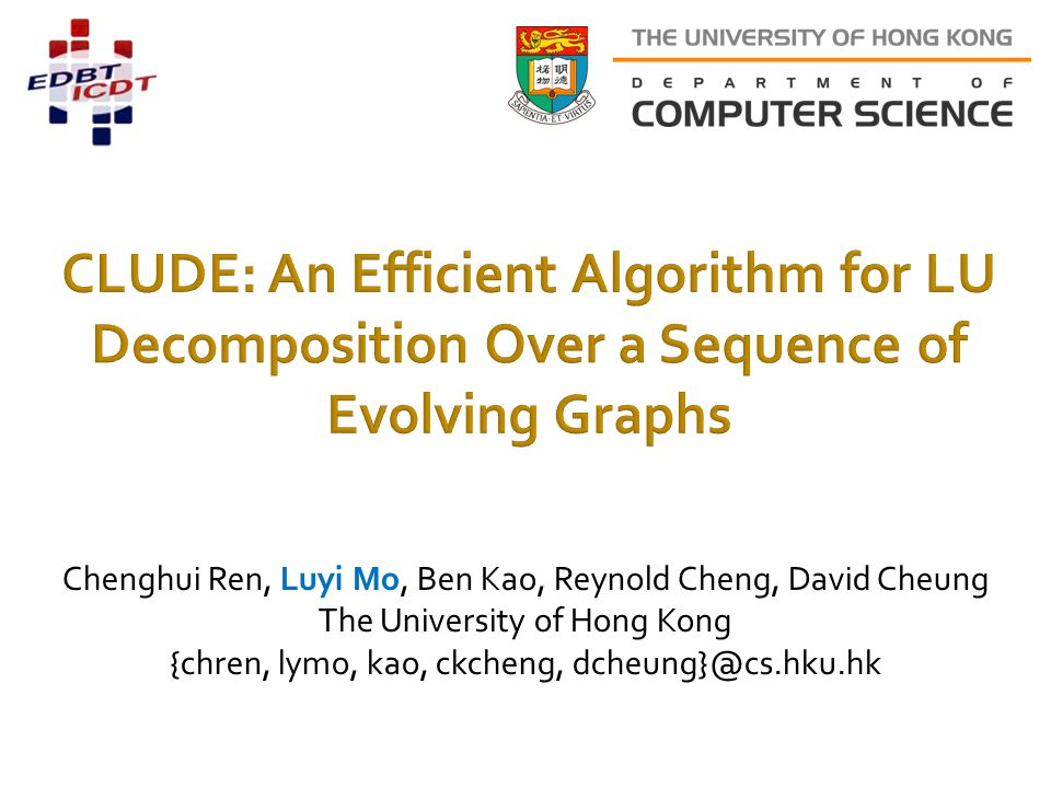 CLUDE: An Efficient Algorithm for LU Decomposition Over a Sequence of Evolving Graphs