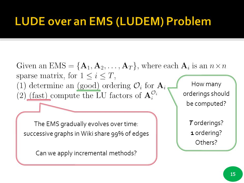 LUDE over an EMS (LUDEM) Problem