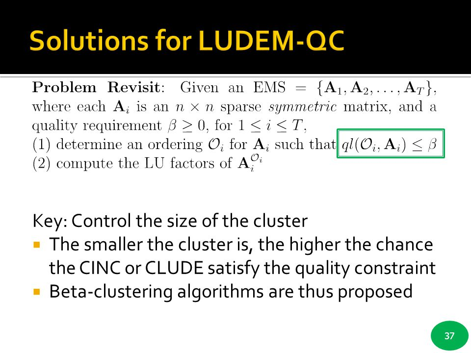Solutions for LUDEM-QC