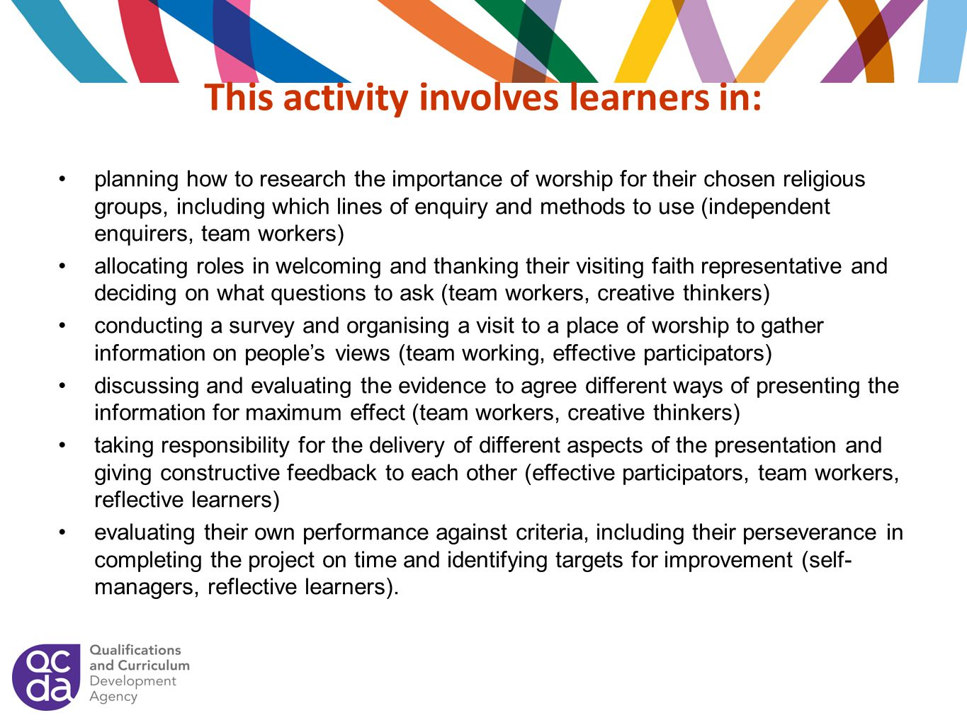 This activity involves learners in: