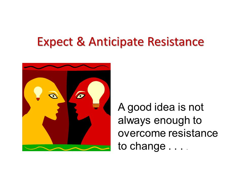 Expect & Anticipate Resistance