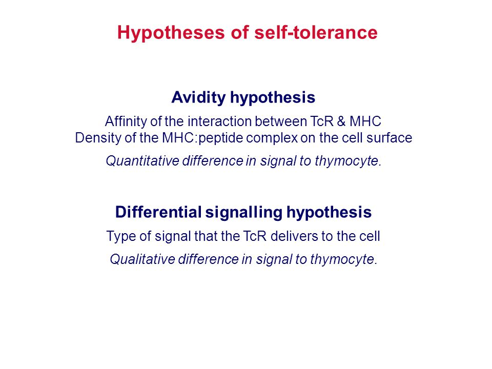 Hypotheses of self-tolerance Differential signalling hypothesis