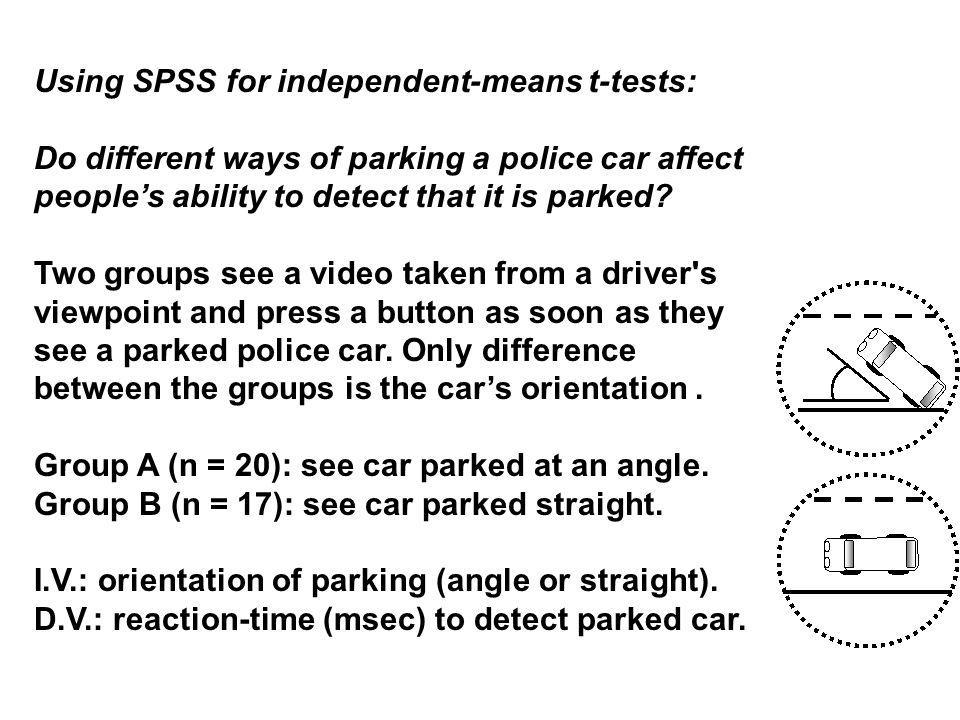 Using SPSS for independent-means t-tests: